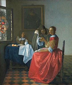 Afbeelding van onze reproductie van Het meisje met het wijnglas by Johannes Vermeer op canvas, klein