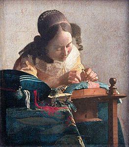 Afbeelding van onze reproductie van De kantwerkster by Johannes Vermeer op canvas, klein