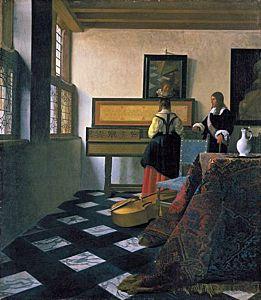 Afbeelding van onze reproductie van De muziekles by Johannes Vermeer op canvas, klein