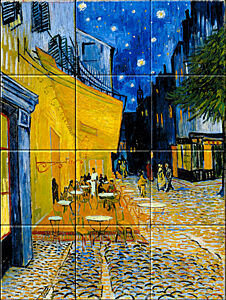 Small image of our reproduction of Terrace of a Café at Night (Place du Forum) by Vincent van Gogh on ceramic tiles tableaus
