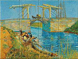 Small image of our reproduction of Bridge at Arles (Pont de Langlois) by Vincent van Gogh on ceramic tiles tableaus