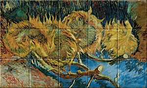 Small image of our reproduction of Four Sunflowers gone to Seed by Vincent van Gogh on ceramic tiles tableaus