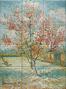 Small image of our reproduction of Pink Peach Trees (Souvenir de Mauve) by Vincent van Gogh on ceramic tiles tableaus