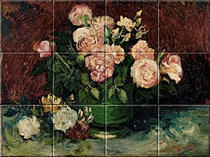Small image of our reproduction of Roses and Peonies by Vincent van Gogh on ceramic tiles tableaus