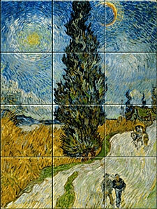 Small image of our reproduction of Country Road in Provence by Night by Vincent van Gogh on ceramic tiles tableaus