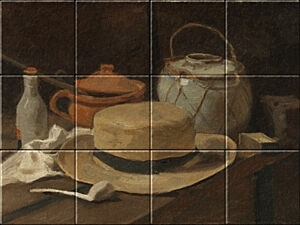 Small image of our reproduction of Still Life with Straw Hat by Vincent van Gogh on ceramic tiles tableaus
