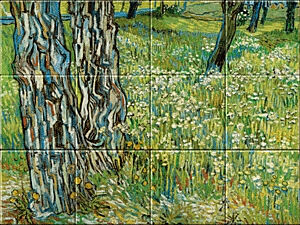 Small image of our reproduction of Tree Trunks in the Grass by Vincent van Gogh on ceramic tiles tableaus