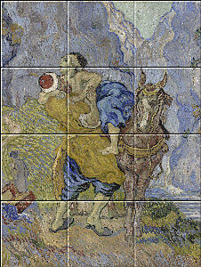 Small image of our reproduction of The Good Samaritan by Vincent van Gogh on ceramic tiles tableaus