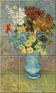 Small image of our reproduction of Flowers in a Blue Vase by Vincent van Gogh on ceramic tiles tableaus
