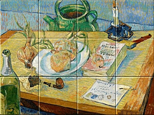 Small image of our reproduction of Still Life with a Plate of Onions by Vincent van Gogh on ceramic tiles tableaus