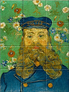 Small image of our reproduction of Portrait of Joseph Roulin by Vincent van Gogh on ceramic tiles tableaus