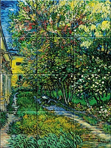 Small image of our reproduction of The Garden of the Asylum at Saint-Remy by Vincent van Gogh on ceramic tiles tableaus