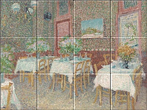 Small image of our reproduction of Interior of a Restaurant by Vincent van Gogh on ceramic tiles tableaus