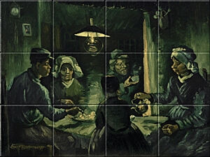 Small image of our reproduction of The Potato Eaters by Vincent van Gogh on ceramic tiles tableaus