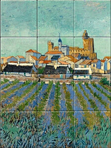 Small image of our reproduction of View of Saint-Maries-de-la-Mer by Vincent van Gogh on ceramic tiles tableaus