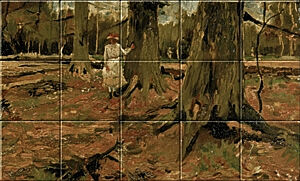 Small image of our reproduction of Girl in a Wood by Vincent van Gogh on ceramic tiles tableaus