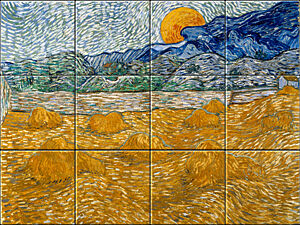 Small image of our reproduction of Landscape with Wheat Sheaves and Rising Moon by Vincent van Gogh on ceramic tiles tableaus