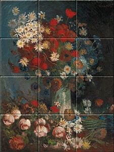Small image of our reproduction of Still Life with Meadow Flowers and Roses by Vincent van Gogh on ceramic tiles tableaus