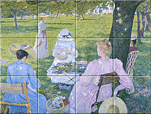 Small image of our reproduction of The Orchard by Théo van Rysselberghe on ceramic tiles tableaus