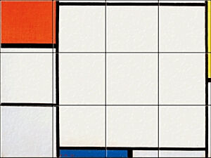 Small image of our reproduction of Composition with Red, Yellow and Blue by Piet Mondriaan on ceramic tiles tableaus