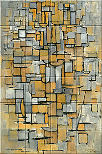 Small image of our reproduction of Tableau No. 1 by Piet Mondriaan on ceramic tiles tableaus