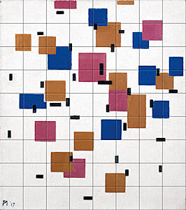 Small image of our reproduction of Composition in Colour A by Piet Mondriaan on ceramic tiles tableaus
