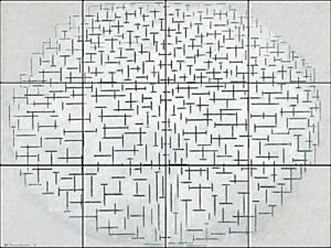 Small image of our reproduction of Composition 10 in Black and White by Piet Mondriaan on ceramic tiles tableaus