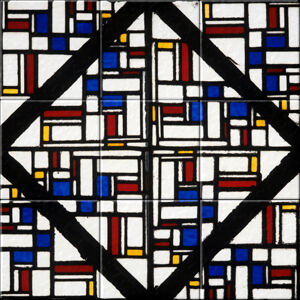 Small image of our reproduction of Stained-Glass Composition III by Theo van Doesburg on ceramic tiles tableaus