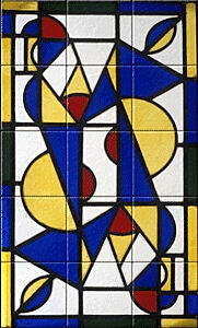 Small image of our reproduction of Dance I by Theo van Doesburg on ceramic tiles tableaus