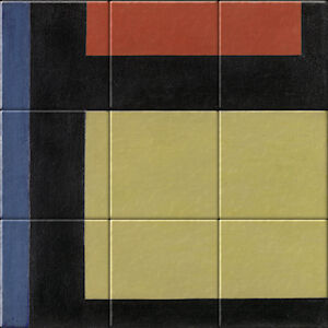 Small image of our reproduction of Contra-Composition X by Theo van Doesburg on ceramic tiles tableaus