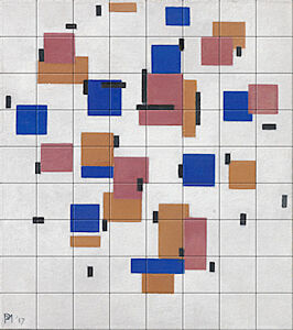 Small image of our reproduction of Composition in Colour B by Piet Mondriaan on ceramic tiles tableaus