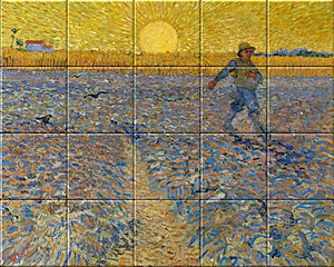 Small image of our reproduction of The Sower by Vincent van Gogh on ceramic tiles tableaus