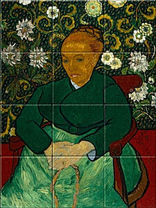Small image of our reproduction of La Berceuse (Portrait of Madame Roulin) by Vincent van Gogh on ceramic tiles tableaus