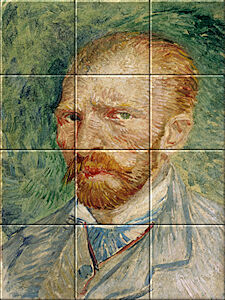Small image of our reproduction of Self-Portrait by Vincent van Gogh on ceramic tiles tableaus