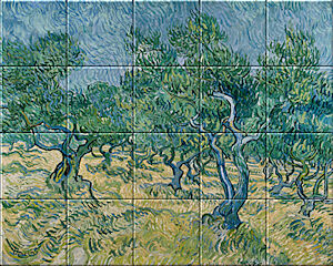 Small image of our reproduction of Olive Grove by Vincent van Gogh on ceramic tiles tableaus