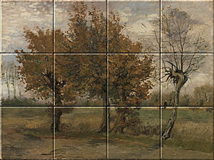 Small image of our reproduction of Autumn Landscape by Vincent van Gogh on ceramic tiles tableaus