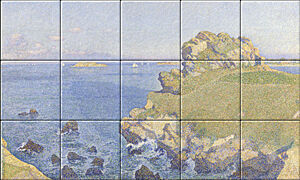 Small image of our reproduction of Le Per Kiridy by Théo van Rysselberghe on ceramic tiles tableaus