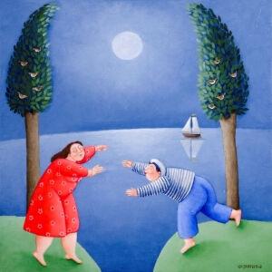 Afbeelding van onze reproductie van Kom bij mij by Ada Breedveld op canvas, klein
