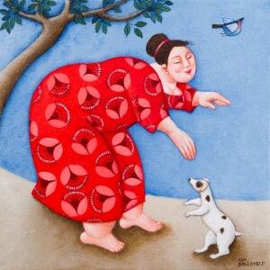 Afbeelding van onze reproductie van Kom maar mee by Ada Breedveld op canvas, klein