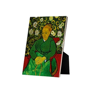 Image of our reproduction of La Berceuse (Portrait of Madame Roulin) by Vincent van Gogh on ceramic tiles with easelback, small