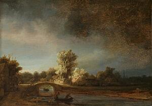 Afbeelding van onze reproductie van Landschap met stenen brug by Rembrandt van Rijn op canvas, klein