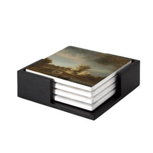 Image of our reproduction of Landscape with a Stone Bridge by Rembrandt van Rijn on ceramic coaster sets, small