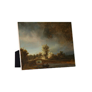 Image of our reproduction of Landscape with a Stone Bridge by Rembrandt van Rijn on ceramic tiles with easelback, small
