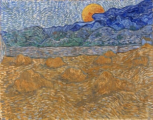 Image of our reproduction of Landscape with Wheat Sheaves and Rising Moon by Vincent van Gogh on canvas, small