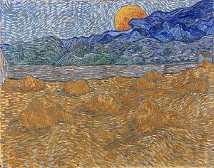 Afbeelding van onze reproductie van Landschap met korenschelven met opkomende maan by Vincent van Gogh op canvas, klein