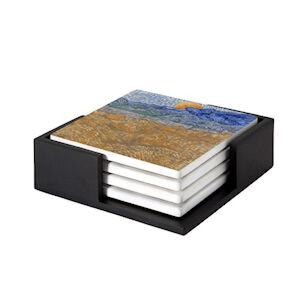 Image of our reproduction of Landscape with Wheat Sheaves and Rising Moon by Vincent van Gogh on ceramic coaster sets, small