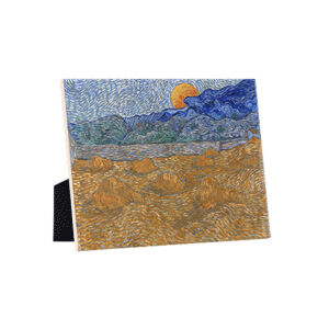 Image of our reproduction of Landscape with Wheat Sheaves and Rising Moon by Vincent van Gogh on ceramic tiles with easelback, small