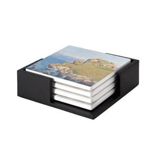 Image of our reproduction of Le Per Kiridy by Théo van Rysselberghe on ceramic coaster sets, small