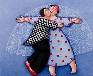 Afbeelding van onze reproductie van Liefdesdans by Ada Breedveld op canvas, klein