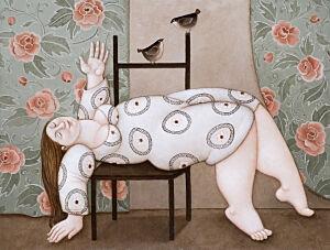 Afbeelding van onze reproductie van Ligstoel by Ada Breedveld op canvas, klein